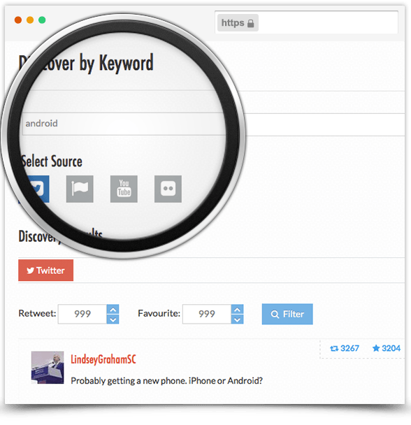 Find Popular Content from Twitter with Keywords